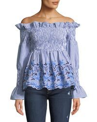 0ebfb8cf89d06c Romeo and Juliet Couture - Smocked Off-the-shoulder Embroidered Blouse - Lyst  Romeo