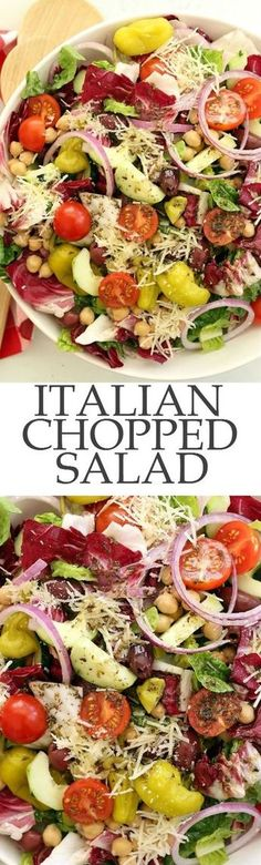 Italian Chopped Salad - a chopped salad that's loaded with flavor. It's great to serve with any Italian dish, grilled chicken or salmon, yet filling enough to be a meal on its own. Perfect for warm summer nights, backyard barbecues and potlucks. Italian Chopped Salad, Chopped Salad Recipes, Healthy Salad Recipes, Vegetarian Recipes, Cooking Recipes, Italian Salad Recipes, Chopped Salads, Green Salad Recipes, Summer Salad Recipes