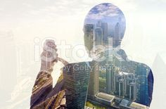 Businessman using smartphone double exposure royalty-free stock photo