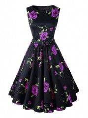 Swing High Waist Rose-floral Printed Vintage Charming Round Neck Skater Dress