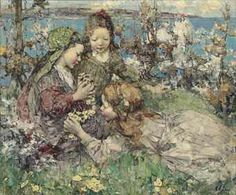 Gathering primroses, Edward Atkinson Hornel (1864-1933), oil on canvas