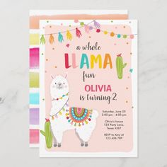Whole llama fun birthday invitation Alpace Cactus Llama Birthday, Birthday Fun, Zazzle Invitations, Cactus, Kids Party Supplies, Create Your Own Invitations, Childrens Party, Birthday Party Invitations, Wrapping