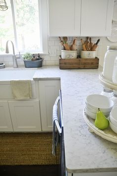 Find Out More On New Kitchen Countertops Do It Yourself Natural Stone Countertops, Quartz Kitchen Countertops, Kitchen Countertop Materials, Kitchen Cabinets, Kitchen Sinks, Kitchen Redo, Kitchen Layout, Cupboards, Kitchen Island