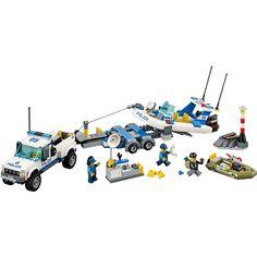 Lego City Police Patrol w/ Two Floating Dinghys, Truck and Trailer, Multicolor Lego City Police Sets, Lego Police Car, Lego Duplo, Lego Online, Lego Clones, Lego Juniors, Nerf Toys, Police Patrol, Building Blocks Toys