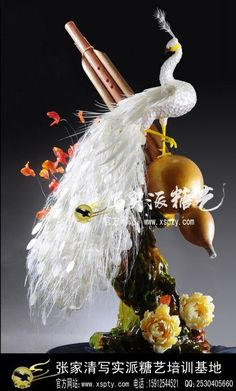sugar pulled art   Blown and pulled sugar Peacock from Chinese sugar artist Zhang Jiaqing