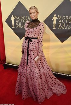 Topping the list: Kate Hudson's bright pink gown had social media users joking that she was up for a role in the 'big-screen adaptation of Little Bow Peep'