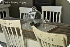table makeover w/ numbered chairs!