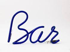 Original Italian Vintage Neon Sign bulb Bar BLUE por ilivevintage, $90.00