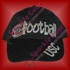 sparkle gear bling usc football black baseball cap rhinestone custom