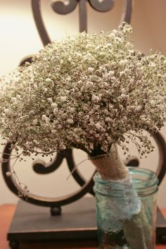 DIY- A beautiful and ethereal baby's breath bouquet is perfect for a romantic wedding!