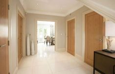 Hallway With Tall Floor Vases And Oak Interior Doors : Rich Natural Oak Interior Doors Oak Interior Doors, Oak Doors, Wooden Doors, Bright Hallway, White Hallway, Hallway Colours, Tall Floor Vases, Madeira Natural, Doors And Floors