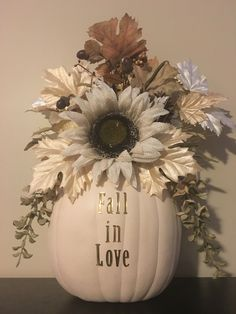 Carvable plastic pumpkin and floral are from Hobby Lobby. Just carve a hole around pumpkin stem and stuff with floral and add adhesive lettering! Pumpkin Arrangements, Fall Flower Arrangements, Pumpkin Centerpieces, Homemade Wedding Decorations, Fall Wedding Centerpieces, Altar Decorations, Pumpkin Flower, Pumpkin Stem, Fall Flowers