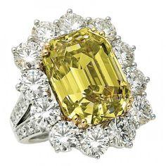 Yellow and White Diamond Ring.  Impressive.