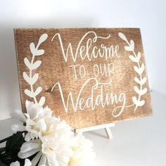 Welcome To Our Wedding Sign Wedding Decoration by TheLogPile