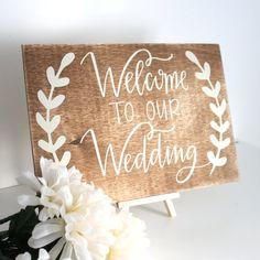 Welkom op onze bruiloft teken bruiloft decoratie door TheLogPile
