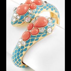 Coral-Aqua Metal Snake Cuff Bangle Leather Look Metal Bracelet Jewelry Bracelets