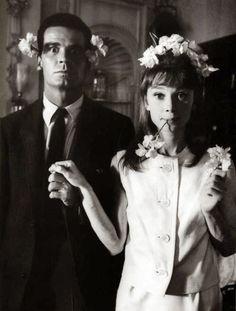 """James Garner y Audrey Hepburn en el set de """"La calumnia"""" (1961)"""
