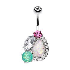 FreshTrends Fuchsia & Clear CZ Faux Opal Cluster Gem Surgical Steel Belly Ring
