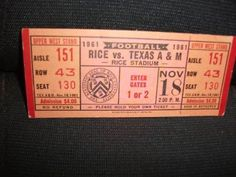 1961 Ticket Stub of Rice v Texas A & M Game at Rice Stadium on 11/18/61