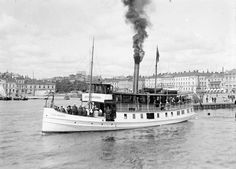 """Street Scenes of Helsinki, Finland, ca. The steam ship """"Östra Skärgården"""" outside the Market Square in Helsinki History Of Finland, Stormy Waters, Ferry Boat, Cultural Identity, The Old Days, Helsinki, Before Us, Travel Posters, Vintage Photos"""