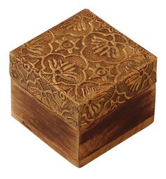 """Bulk Wholesale Hand-Carved 2.5"""" Square Wooden Jewelry Box / Trinket Box Enhanced with Brass-Sheet in Floral Motifs & Cone-Painting Art in Golden & Natural Wood Color – Antique-Look Boxes from India"""