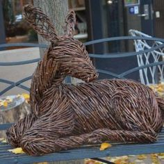 This collection of life size deer sculptures are crafted with grapevine that is handwoven over a steel armature. Willow Garden, Twig Art, Christmas Garden, Paper Mache Sculpture, Willow Weaving, Kids Play Area, Outdoor Sculpture, Topiary, Natural Living