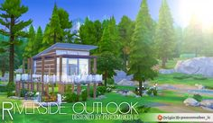 Simsational designs: Riverside Outlook - A Cabin for Granite Falls • Sims 4 Downloads