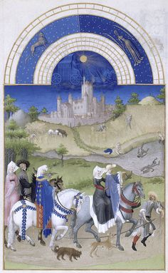15th century Très Riches Heures illuminated by the Limbourg brothers. August: Falconry, with the Duc's Château d'Étampes in the background. via http://publicdomainreview.org