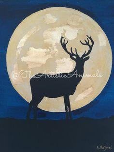 Canvas print of original painting Animal painting Deer