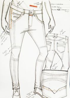 Pants Drawing, Drawing Clothes, His Jeans, Denim Jeans, Fashion Flats, Denim Fashion, Colored Jeans, Fashion Sketches, Aw17