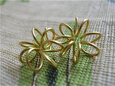 Gold Flower EarringsPosts Gold Flowers Wire by JoJosgems on Etsy, $12.00