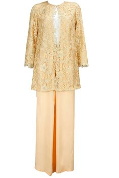 Golden apricot lace suit available only at Pernia's Pop-Up Shop.