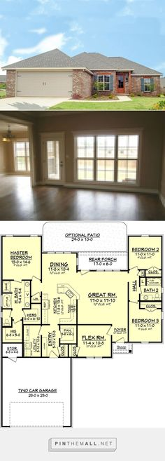 awesome Traditional Style House Plan - 3 Beds 2 Baths 1849 Sq/Ft Plan - a grouped images picture New House Plans, Dream House Plans, Small House Plans, House Floor Plans, My Dream Home, H Design, House Design, Building Plans, Building A House