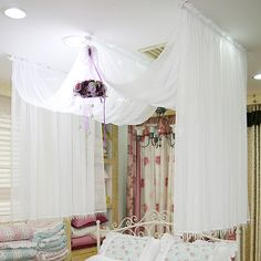 Chiffon BED Canopy Romantic BED Canopy White Color Single Queen Size | eBay