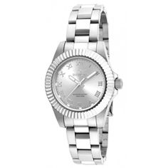 Invicta Pro Diver Analog Display Swiss Quartz Silver Watch (6605 DZD) ❤ liked on Polyvore featuring jewelry, watches, invicta jewelry, silver jewellery, roman numeral jewelry, invicta and silver crown