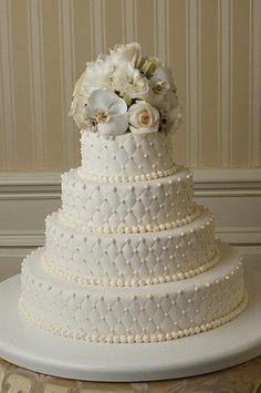 Beautiful, traditional wedding cake.