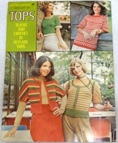 Vintage Patterns for Tops to Knit or Crochet, Pattern Booklet, Columbia-Minerva Leaflet, 5 sweater or vest patterns, free shipping by CrochetCraftsNMore on Etsy