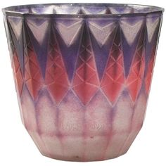 """French Art Deco pâte-de-verre vase by Gabriel ARGY-ROUSSEAU, featuring a repeating spearhead pattern in hues of pinks, purples and blues. Pictured in: G. Argy-Rousseau - Glassware As Art, by Janine Bloch-Dermant, Thames and Hudson, New York, 1991, page 221, plate 30.06. Signed """"G. Argy-Rousseau"""" and """"France"""""""