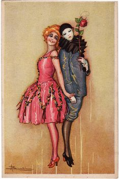 Post Card Sexy Red Head with Pierrot Busi Art | eBay