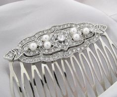 Bridal Hair Comb Art Deco Wedding Hair Comb by pinkingedgedesigns