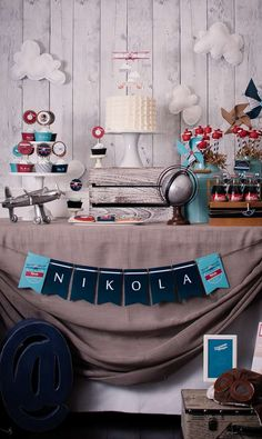 Little aviator birthday party dessert table! See more party planning ideas at CatchMyParty.com!