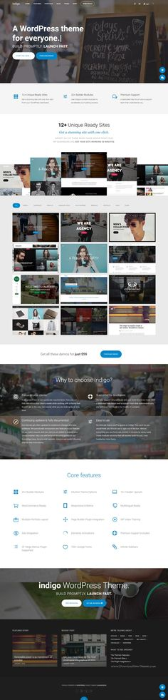 Indigo elegan, slick and smart multipurpose #WordPress Theme. It comes with 10+ unique ready sites, 15+ header layouts, 20+ builder modules, 700+ fonts, costume backgrounds and many more. #webdesign