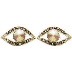 Lucky Evil Eye Stud Earrings with Rhinestones