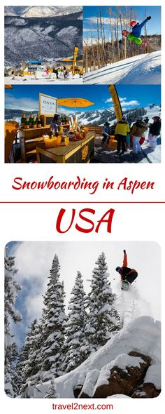 Snowboarding in Aspen, USA. How do you describe Aspen in the winter time when snow falls all night, giant balls of white fluff that land all over you but you can't feel a thing because they're so soft and dry?