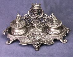 Double Inkwell Art Nouveau Victorian Antiqued Silver