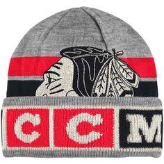 324a27754 Men s Chicago Blackhawks CCM Gray Cuffed Knit Hat