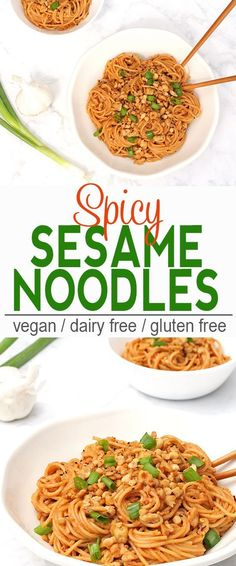 Spicy Sesame Noodles | These Spicy Sesame Noodles are perfect when you have a craving for Asian noodles but want a little kick! via @VNutritionist