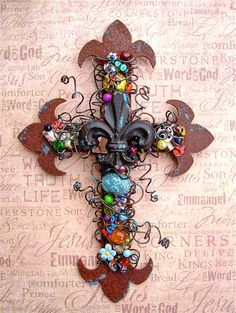 Fleur-de-lis Wall Cross Rusty Beaded I LOVE this!!