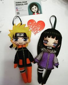 Naruto And Hinata, Plushies, Mickey Mouse, Disney Characters, Fictional Characters, Felt, Manga, Dolls, Anime
