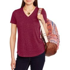 Faded Glory Women's Classic V-Neck Pocket Tee, Size: Small, Red
